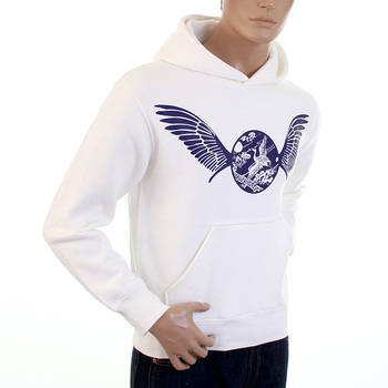 RMC Martin Ksohoh White RWC141264 Large Fitting Freedom Crane Hooded Sweatshirt with Navy Crane Print REDM1026