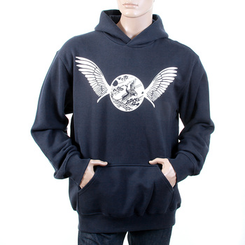 RMC Jeans Ecru Freedom Crane Printed Large Fit Cotton Navy Sweatshirt with Hood REDM1023