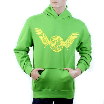 RMC Martin Ksohoh RWC141264 Lime Green Long Sleeve Large Fitting Hooded Sweatshirt with Freedom Crane Print in Yellow REDM1024