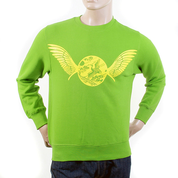RMC Jeans Mens Freedom Crane RWC141262 Crew Neck Large Fit Cotton Lime Green Sweatshirt REDM1032