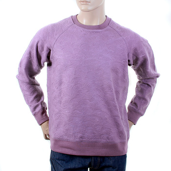 RMC Jeans R6WHTSUNAMIE Mens Large Fitting Crew Neck Tsunami Wave Lilac Cotton Sweatshirt REDM1056