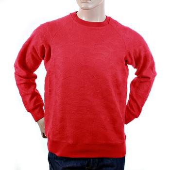 RMC Jeans R6WHTSUNAMIE Mens Raglan Sleeve Crew Neck Large Fitting Tsunami Wave Red Sweatshirt REDM1054