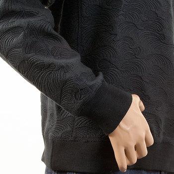 RMC Jeans R6WHTSUNAMIE Mens Large Fitting Embroidered Tsunami Wave Crewneck Sweatshirt in Black REDM1057
