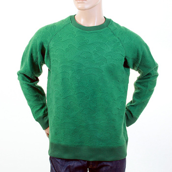 RMC Raglan Sleeve R6WHTSUNAMIE Reversed Tsunami Wave Embroidered Emerald Green Crew Neck Sweatshirt REDM1058