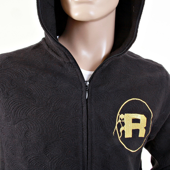 RMC Martin Ksohoh R6WCTSUNAMIE Cotton Large Fitting Black Tsunami Wave Zipped Sweatshirt with Hoody REDM1062