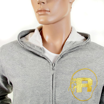 RMC Martin Ksohoh R6WCTSUNAMIE Grey Marl Cotton Zipped Hooded Tsunami Wave Embroidered Sweatshirt REDM1065