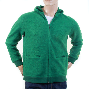 RMC R6JKTSUNAMIE Mens Tsunami Wave Embroidered Large Fitting Zipped Hooded Sweatshirt in Emerald Green REM1051