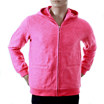 RMC Large Fitting R6JKTSUNAMIE Mens Tsunami Wave Embroidered Hooded Zipped Sweatshirt in Pink REDM1047