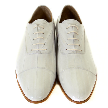 DiSanto natural white lace up eel skin Pirlo shoes DISA0411