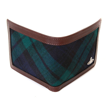 Vivienne Westwood tartan and brown leather boxed wallet  VW066 33024 VWST2031