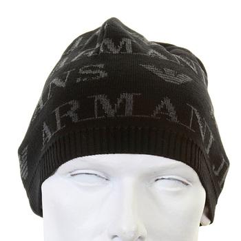 Armani Jeans black monogram knitted skull cap beanie S6417 S1 AJM1339