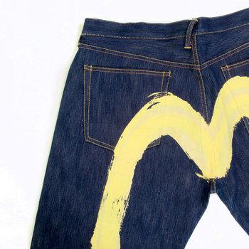 Evisu Yellow Painted Diacock Special Vintage Cut Non Wash Denim Jeans EVIS3791