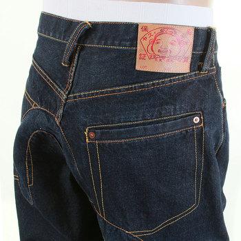 Evisu Dark Indigo Vein Wash Denim Insert Seagull Logo Jeans for Men EVIS6785