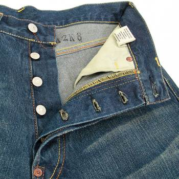 Evisu Stone Wash Vintage Jeans for Men with Yellow Embroidered Signature Seagull Logo on Back Pockets EVIS2205