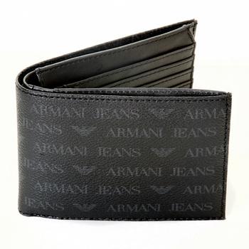 Armani Jeans mens black monogram logo 06V66 J4 boxed wallet AJM2498