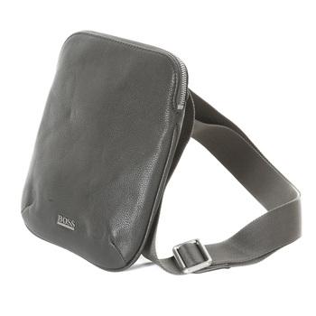 Hugo Boss Black label mens grey leather 50205406 Bussolo reporter bag BOSS0969
