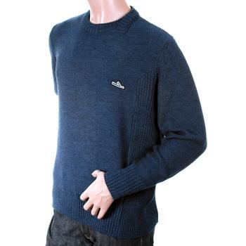 Ijin mens blue J3200 5 wool mix panel knitwear IJIN2365