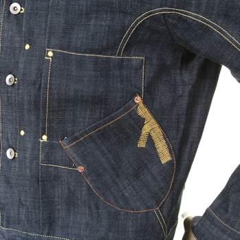 Ijin mens raw selvedge denim J6030 75 slim pleat jacket IJIN5284