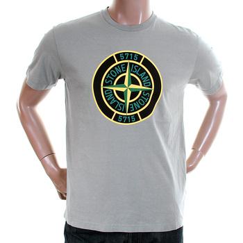Stone Island mens grey 561520181 compass logo tee shirt SI2114