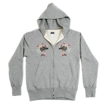 Sugar Cane Mens Slim Fit TT64244 Hooded Long Sleeve Marl Grey Sweatshirt with Hells Dragon Embroidery CANE2848