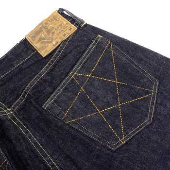 Sugar Cane Mens Vintage Cut SC40045A One Wash Selvedge Denim Jeans with Victory Star Embroidery CANE3143
