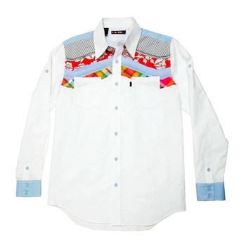 Yoropiko Diamond Jaquard Regular Fit White Mens Long Sleeve Shirt YORO0261