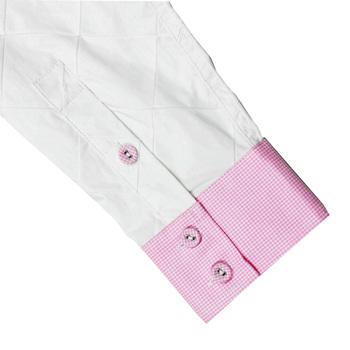 Yoropiko Diamond Jacquard Pick and White Soft Collar Printed Mens Long Sleeve Shirt YORO0264A