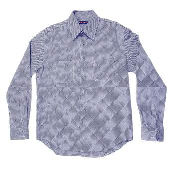 Yoropiko Mens Navy Soft Collar Regular fit Navy and White Long Sleeve Shirt with Dog Tooth Check YORO0269