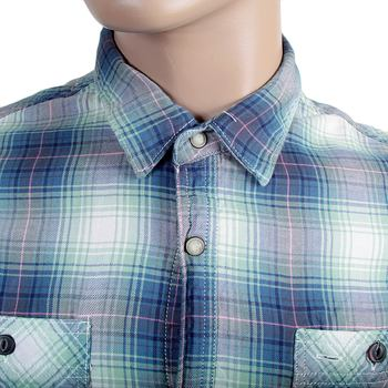Scotch & Soda mens blue and green check 1301 01 20044 long sleeve shirt SCOT1791