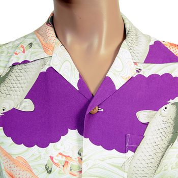 Sun Surf Mens SS36434 Purple Rayon Regular Fit Short Sleeve Koi Hawaiian Shirt With Cuban Collar SURF4300