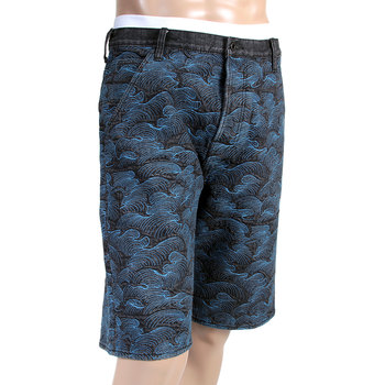 RMC Jeans Black Denim Shorts for Men with Blue Tsunami Waves Embroidery REDM4147