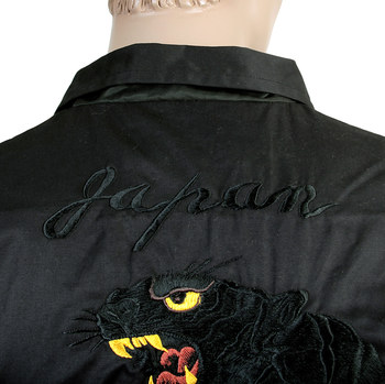 Sugarcane Mens Black TT13002 Regular Fit Tiger Themed Cotton Twill Jacket with Gold Embroidery TOYO4121