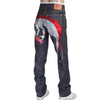 RMC Jeans Hungry Dragon 1001 Model Japanese Selvedge Denim Jeans in Indigo with Red and Silver Embroidery RMC3743