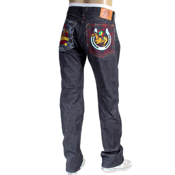 RMC Jeans RQP13124 Model 1001 Indigo Japanese Raw Denim Jeans with Jockey and Horseshoe Embroidery RMC3747