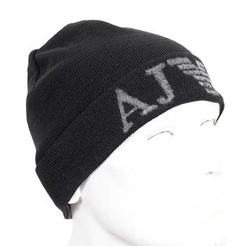 Armani mens black fine rib knit Z6401 M2 beanie hat AJM4045