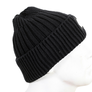 Stone Island mens black rib knit 611N0106 beanie hat SI4081