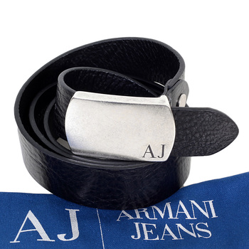 Armani mens black leather Z6150 P5 casual belt AJM4042