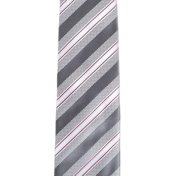 Hugo Boss mens grey striped 50267502 silk tie BOSS3297
