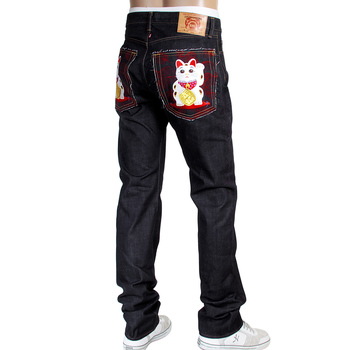 RMC Martin Ksohoh RQP14019 1011 Slim Cut Indigo Raw Denim Jeans with Lucky Cat Maneki Neko Embroidery RMC4115
