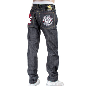 RMC X Yoropiko Indigo Cotton Japanese Raw Selvedge Embroidered Denim Jeans REDM4128