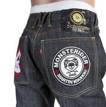 RMC Jeans X Yoropiko Mens Embroidered Indigo Japanese Cotton Raw Selvedge Denim Jeans REDM4128
