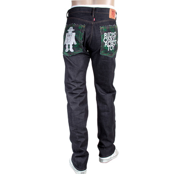 RMC 1001 Model Embroidered Japanese Robot Toy Indigo Red Line Selvedge Raw Denim Jeans RMC4129