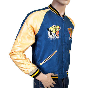 Tailor Toyo Mens TT13001 Regular Fit Fully Reversible Royal Blue Souvenir jacket With Hand Embroidered Tiger TOYOSC3709A