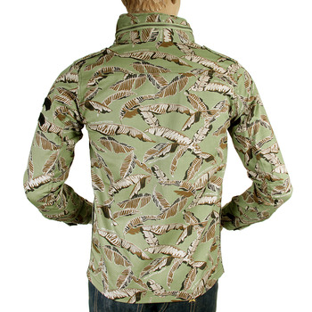 RMC Jeans RQJ14001 Green Leaf Camo Regular Fit Hooded Button Up Cotton Field Jacket REDM4132