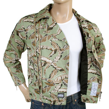 RMC Martin Ksohoh Green Leaf Pattern Regular Fit RQZ14008 Zip Front Cotton Biker Jacket REDM4130