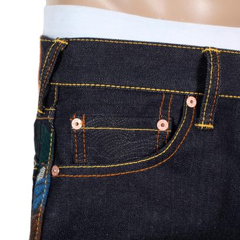 RMC Jeans Limited Production Toyo Story Fisherman Embroidered Dark Indigo Vintage Raw Selvedge Jeans REDM9072