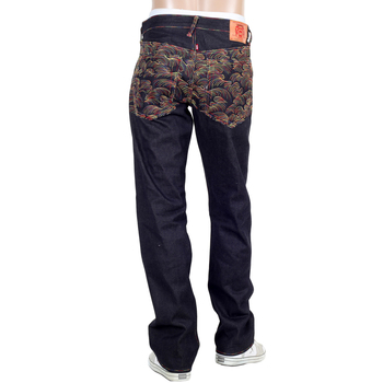 RMC Jeans Dark Indigo Vintage 1002 Cut Raw Selvedge Denim Jeans with Rainbow Tsunami Embroidery REDM0064