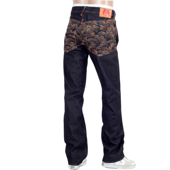 RMC Jeans Rainbow Tsunami Embroidered Raw Selvedge Vintage 1002 Cut Dark Denim Jeans REDM0064