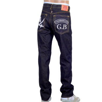 RMC Model 1001 Underground GB Mens Raw Japanese Selvedge Skull Embroidered Dark Indigo Denim Jeans RMC2989