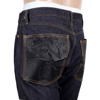 RMC Slim Fit Indigo Model 1111 Raw Red Line Selvedge Black Bushi Embroidered Denim Jeans RMC2767